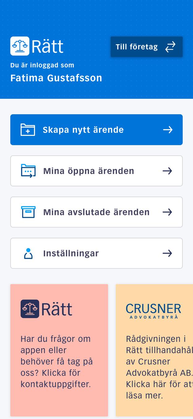 Exempelvy från rätt appen